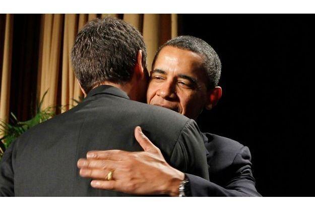 Barack Obama et José Luis Rodrigues Zapatero donnant tort à la polémique hier à Washington.