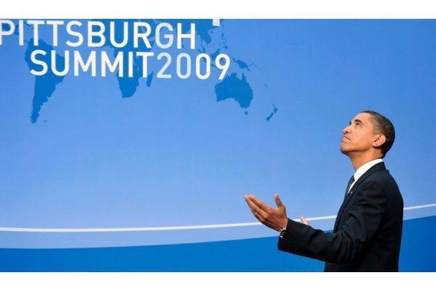 Le président américain Barack Obama, lors de l'ouverture du sommet du G20 à Pittsburg, le 24 septembre 2009