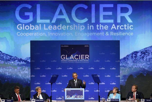 "Barack Obama a tiré la sonnette d'alarme à la conférence internationale ""Glacier"" (Global Leadership in the Arctic : Cooperation, Innovation, Engagement and Resilience), à Anchorage, en Alaska."