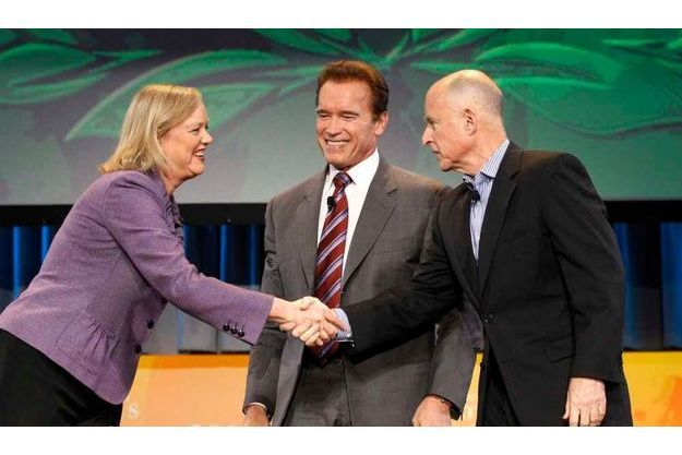 Meg Whitman Arnold Schwarzenegger  et Jerry Brown.
