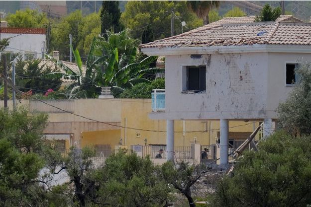 La maison d'Alcanar, touchée par une explosion.
