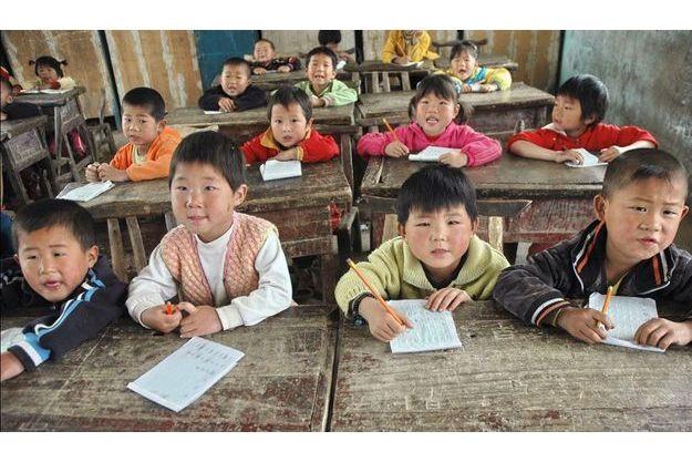 Des écoliers dans une école primaire du Henan.