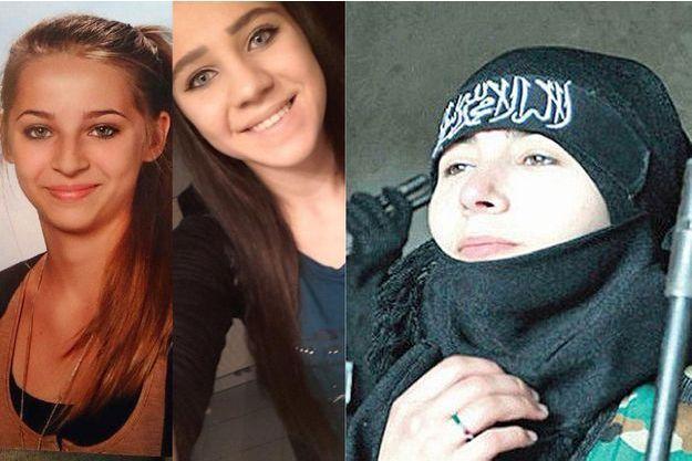 Samra et Sabina, à côté d'une photo publiée sur leur compte Facebook montrant une combattante.