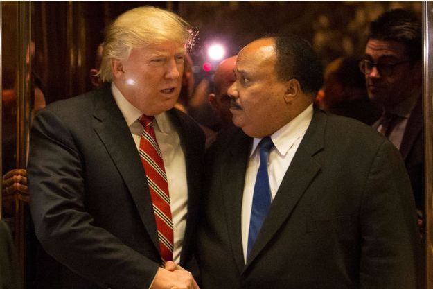 Donald Trump et Martin Luther King III, lundi à New York.