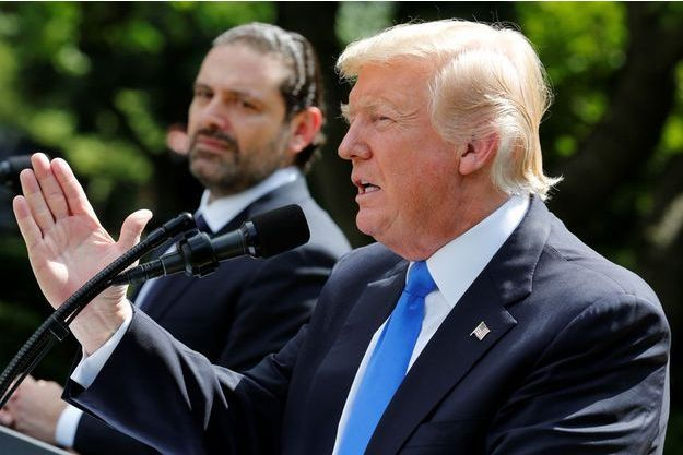 Le Premier ministre libanais Saad Hariri et le président des Etats-Unis Donald Trump dans les jardins de la Maison Blanche.