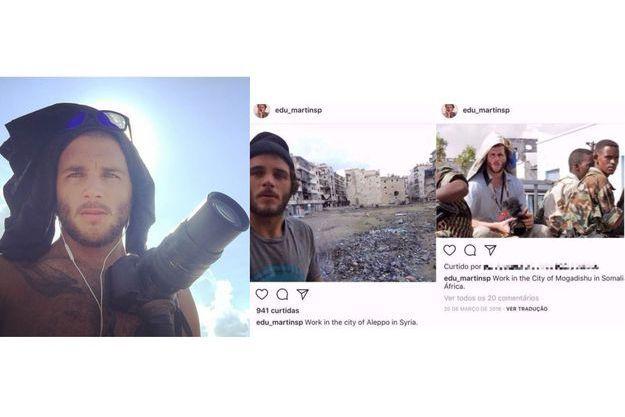 A gauche, une photo postée par Max Hepworth-Povey. A droite, des captures d'écran du compte Instagram d'Eduardo Martins.