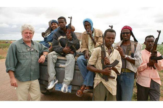 Patrick Forestier et ses gardes du corps en 2006  à Mogadiscio.