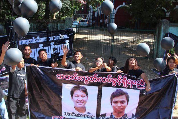 Manifestation pour la libération de Wa Lone et Kyaw Soe Oo à Rangoun, le 10 janvier 2018.