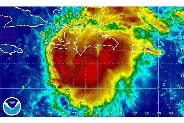 Image satellite montrant Haïti atteinte par la tempête tropicaleHa Emily.