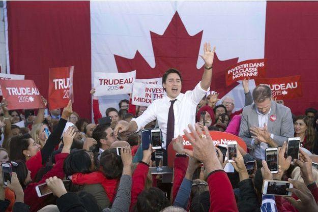 Justin Trudeau lors d'un meeting à Ajax, en Ontario, le 14 octobre 2015.