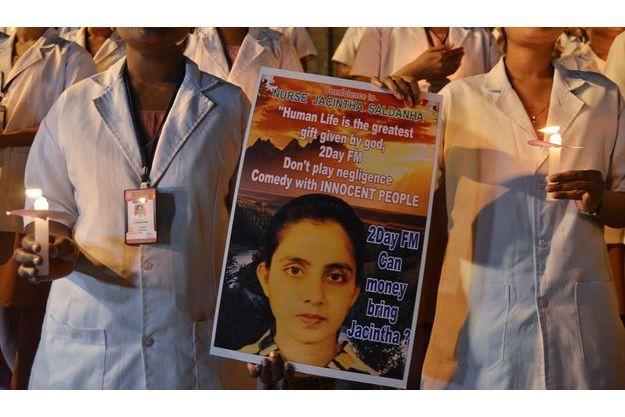 Hommage à l'infirmière de Kate, Jacintha, à Bangalore en INde d'où elle était originaire.