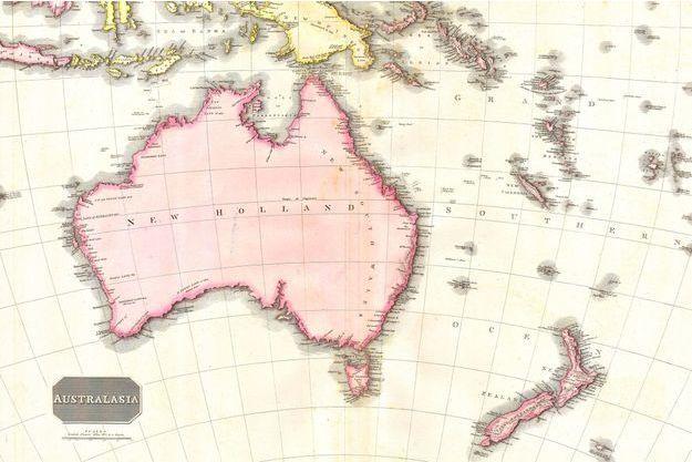 Une carte de l'Australie, vielle de 1818