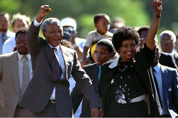 Nelson et Winnie Mandela en 1990.