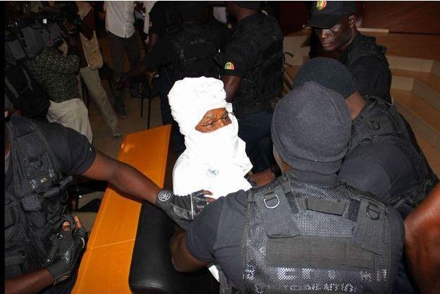 Hissène Habré à l'ouverture du procès le 20 juillet.