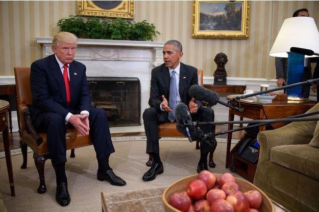 10 novembre 2016 : le président Barack Obama reçoit le président-élu Donald Trump à la Maison Blanche.