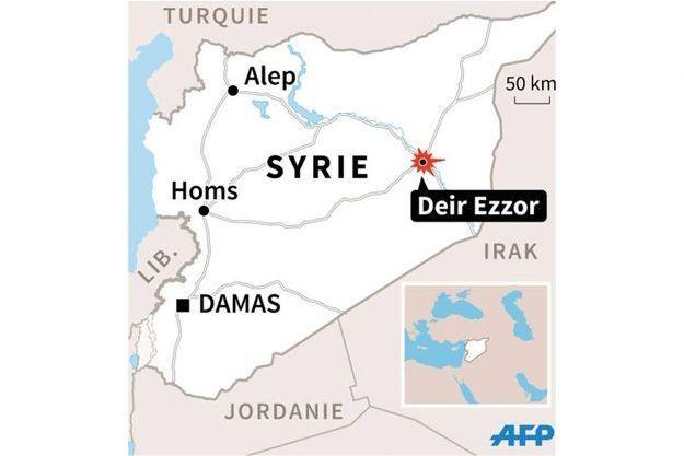 Deir Ezzor, située sur les rives de l'Euphrate, non loin de la frontière avec l'Irak.