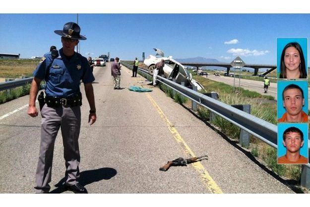 C'est là que s'est terminée la course poursuite entre la police du Colorado et le «gang Dougherty». Au premier plan, l'AK-47 utilisé par les fugitifs.
