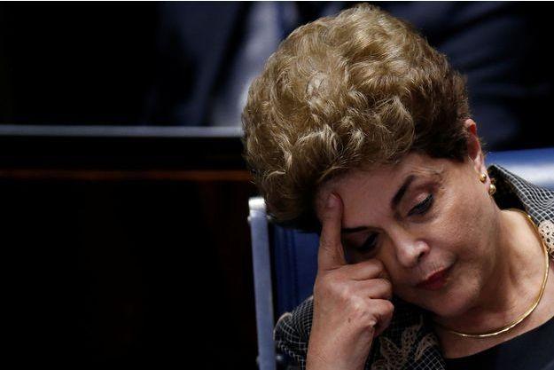 Dilma Rousseff, lors du débat des sénateurs sur sa destitution, mardi 29 août 2016.