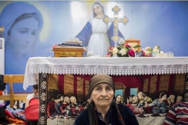 Mardi 12 août 2014, dans l'église Mart Shmoni du quartier d'Ankawa, à Erbil.