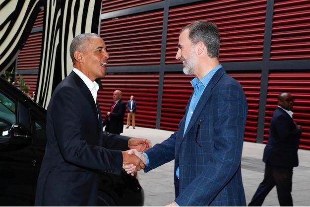 Barack Obama et le roi d'Espagne Felipe VI, le 7 juillet 2018.