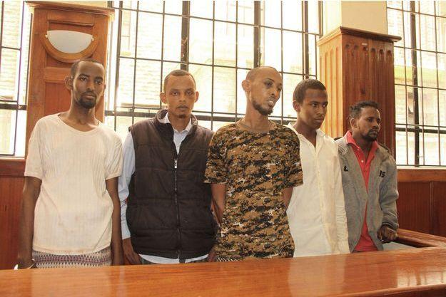 Cinq des six suspects de l'attaque de Garissa (Rashid Charles Mberesere ne figure pas sur la photo).