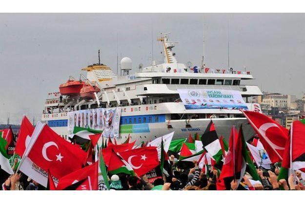 Des militants pro-palestiniens brandissent des drapeaux pour acceuillir le Mavi Marmara à Istanbul, en décembre 2010.