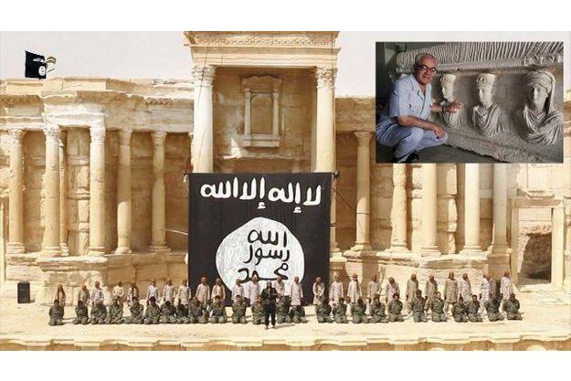 Dans l'amphithéâtre de la cité antique, exécution de soldats du régime syrien par Daech. Image extraite d'une vidéo mise en ligne le 4 juillet dernier. En médaillon: Khaled Al-Assad, décapité par les monstres de Daech.