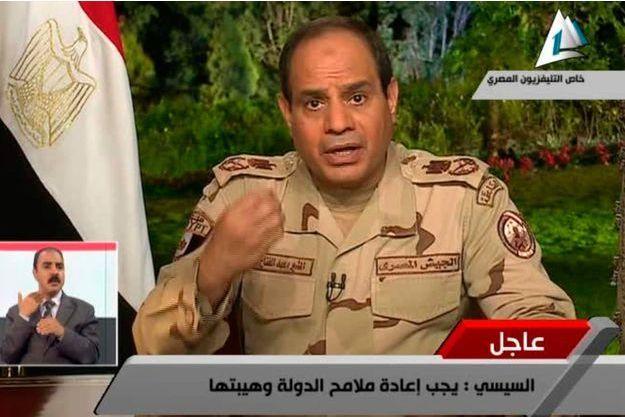 Abdel Fattah al Sissi lors de son allocution télévisée sur la chaîne égyptienne «Al Masriya»
