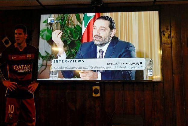 Le Premier ministre Saad Hariri lors de son interview à la télévision libanaise, le 12 novembre 2017.