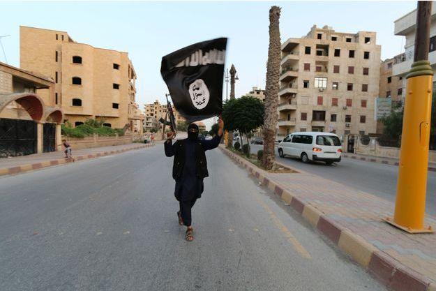 Un combattant de Daech brandit un drapeau.