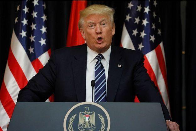 Donald Trump réagissant mardi à l'attentat de Manchester.