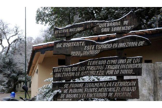 Entrée de la réserve de la Quebrada San Lorenzo où les corps de Cassandre et Houria ont été trouvés.