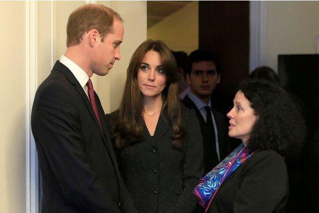 Sylvie Berman, à droite, avec le duc et la duchesse de Cambridge, mardi 17 novembre à l'ambassade de France à Londres.