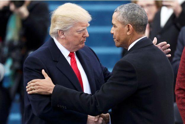 Donald Trump et Barack Obama, lors de la passation de pouvoir, le 20 janvier 2017.