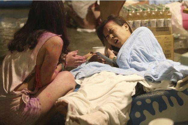 Cette jeune femme fait partie des blessés de l'explosion du parc aquatique de Taipei.