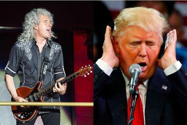 A droite : Brian May, guitariste du groupe Queen. A gauche : Donald Trump.