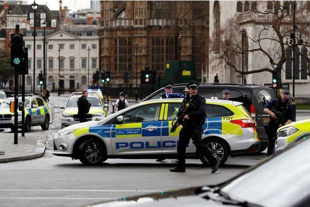 Sur les lieux de l'attentat mercredi à Londres.
