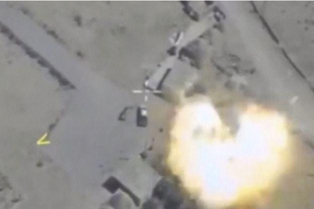 Une frappe aérienne russe en Syrie.