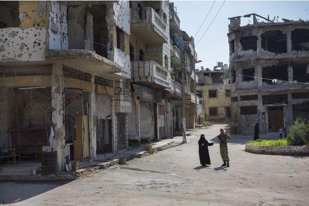 Les rues désertées de Homs, en Syrie.
