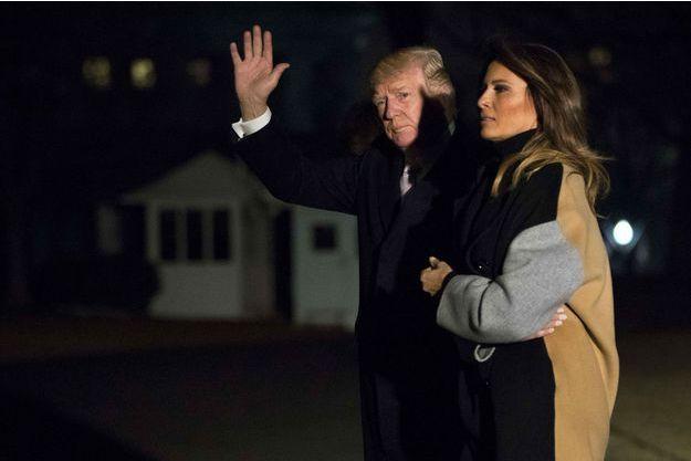 Donald et Melania Trump de retour à la Maison-Blanche, le 15 janvier 2018.