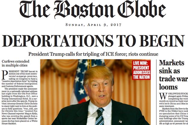 "La Une du ""Boston Globe"""
