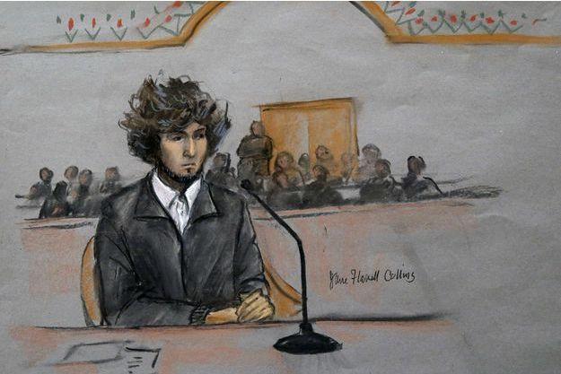 Dzhokhar Tsarnaev sur un dessin réalisé lors d'une audience le 18 décembre dernier.