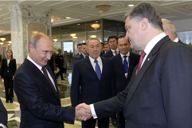 Vladimir Poutine et Petro Porochenko à Minsk.