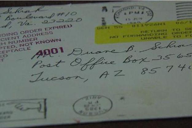 Carte reçue par Shrock 26 ans après la mort de son fils.