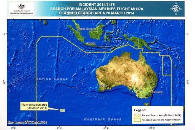 La carte établie par l'Australie montrant l'endroit où ont été détectés les deux objets pouvant appartenir au vol disparu MH370.