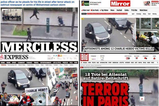 Le massacre de Charlie Hebdo fait la une de tous les sites de la presse internationale.