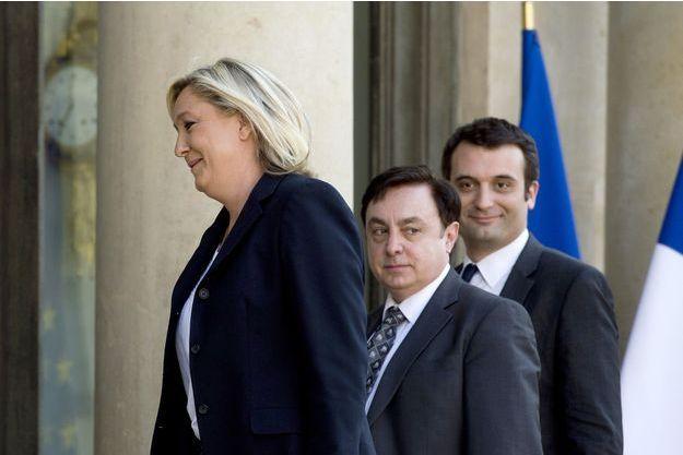 Marine Le Pen, Florian Philippot et Jean-François Jalkh.