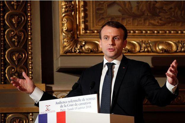 Emmanuel Macron à l'occasion de l'audience solennelle de rentrée de la Cour de Cassation le 15 janvier 2018