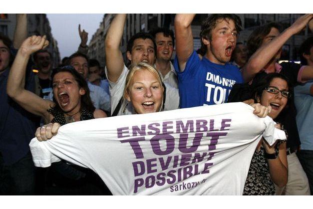 Supporters de Nicolas Sarkozy lors de son élection présidentielle.