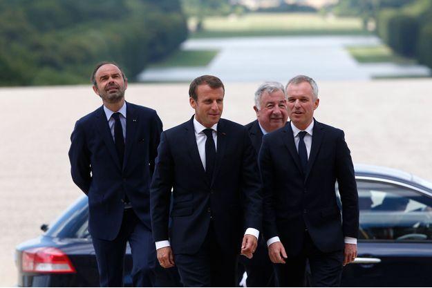 Le Premier ministre Edouard Philippe, le président de la République Emmanuel Macron, le président du Sénat Gérard Larcher et le président de l'Assemblée nationale François de Rugy.
